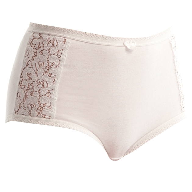 Triumph Cotton and Lace Full Figure Briefs - 0003 - white