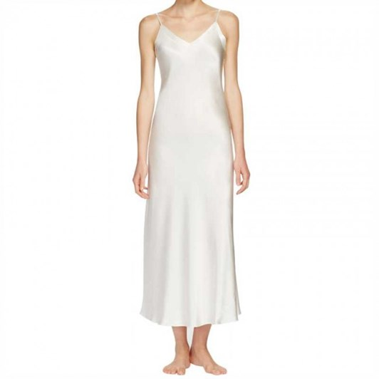 Ginia Silk Long Nightie V Neck
