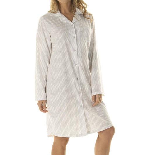 La Marquise Honeycomb Dots Button Through Nightshirt