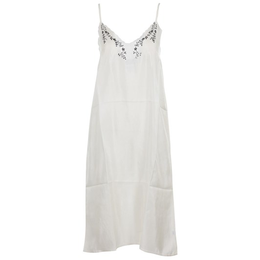 Arabella White Silk Nighty With Black Embroidery