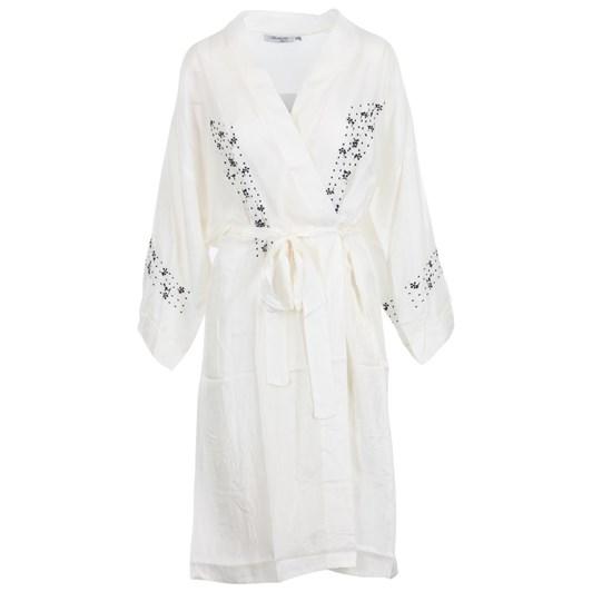 Arabella White Silk Robe With Black Embroidery