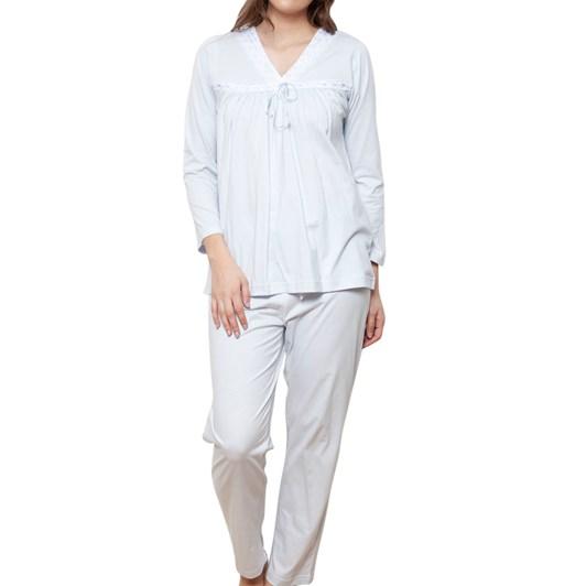 Cottonreal Super Mercerised Jersey L/Slv Soft V Pj Sets