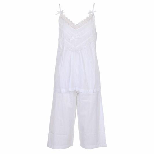 Cottonreal Deluxelawn Jaq Tramline Stripe Strappy Cami - Capri Pj Set