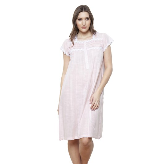 Cottonreal Supervoile Checks&Stripes Cap Slv Sq Nightdress