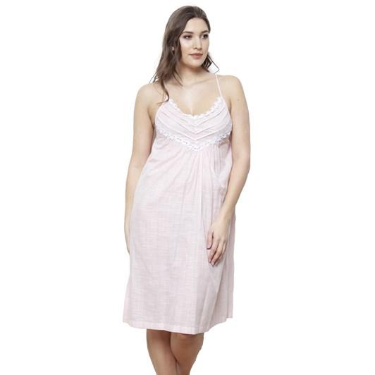 Cottonreal Supervoile Checks&Stripes Spag Strappy Nightdress