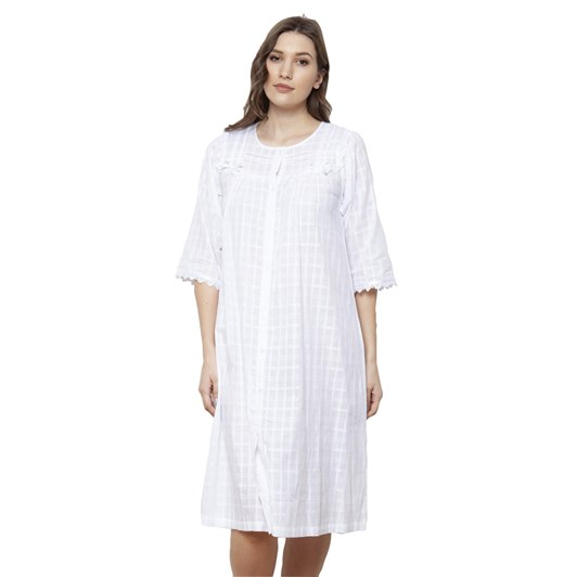 Cottonreal Deluxe Voile Jaq Checks&Stripes ¾ Sleeve Nightdress