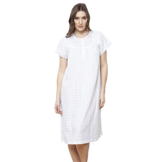 Cottonreal Deluxe Voile Jaq Checks&Stripes S/Sleeve Nightdress