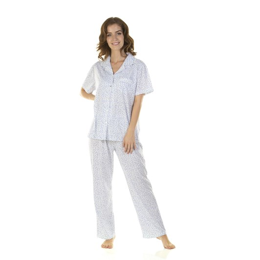 La Marquise Lavish Leaves Button Through Short Sleeve Pyjama