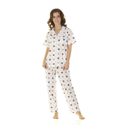 La Marquise Marshmallow Dots Short Sleeve Button Through Pyjama