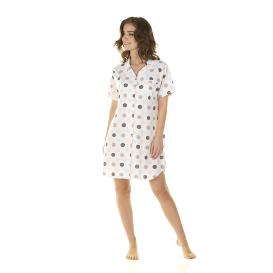 La Marquise Marshmallow Dots Short Sleeve Button Through Nightshirt