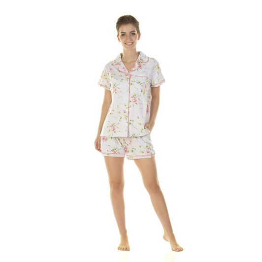 La Marquise English Rose Short Sleeve Button Through Short Set