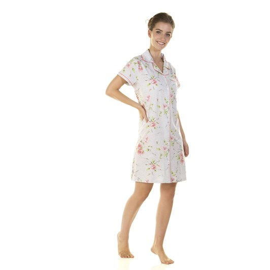 La Marquise English Rose Short Sleeve Button Through Nightshirt