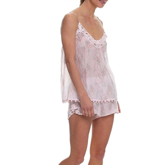 Papinelle Falling Blossom Pink Lace Front Cami And Boxer