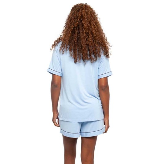 Cyberjammies Olivia Blue Revere Collar Knit Top And Shorts Set