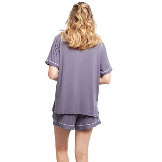 Cyberjammies Olivia Grey Revere Collar Knit Top And Shorts Set
