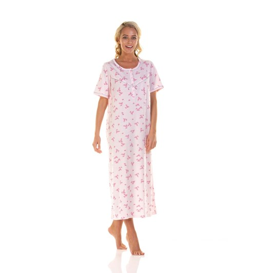 La Marquise Pink Blossom Short Sleeve Nightdress - Longer