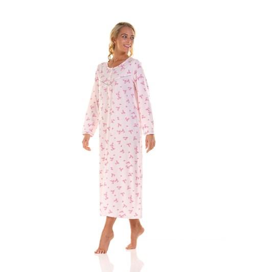 La Marquise Pink Blossom Long Sleeve Nightdress - Longer