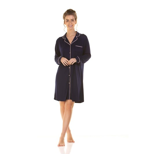 La Marquise Japanese Garden Long Sleeve Button Through Nightshirt