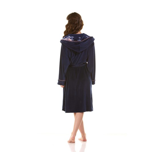 La Marquise Japanese Garden Piped Velour Hooded Robe
