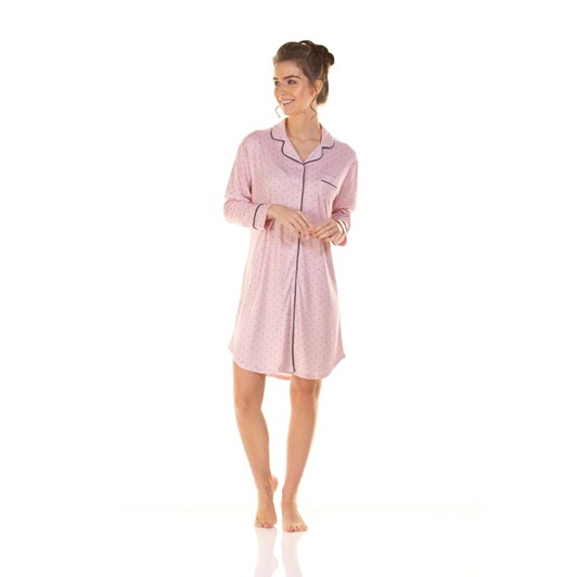 La Marquise Charcoal Dots Button Through Nightshirt