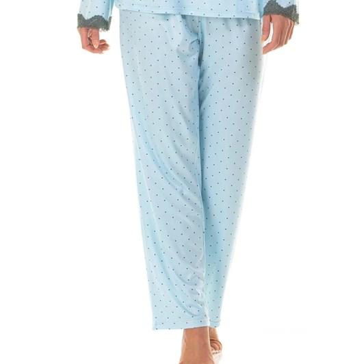La Marquise Charcoal Dots Long Sleeve V-Neck Pyjama