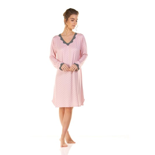 La Marquise Charcoal Dots Long Sleeve V-Neck Nightdress