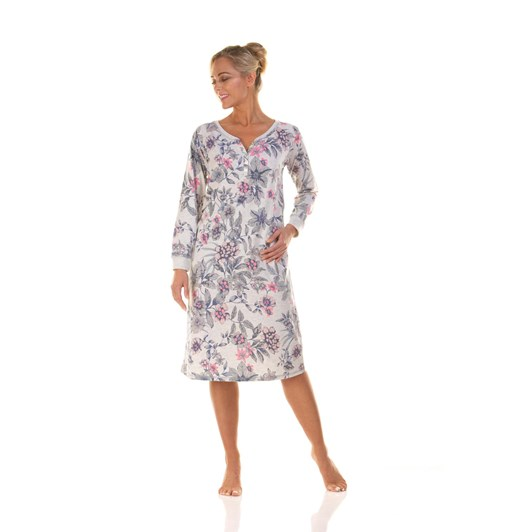 La Marquise Neon Floral Long Sleeve Placket Nightdress