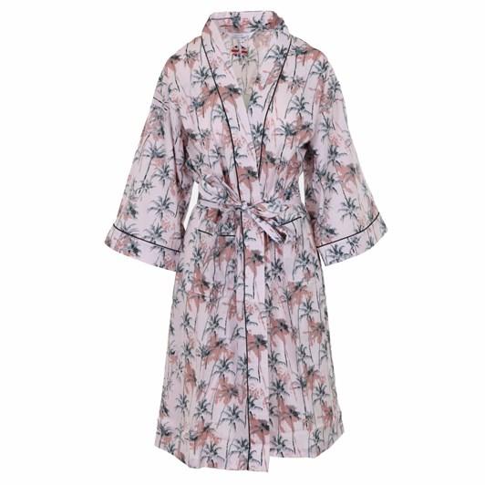 Cottonreal Co/Poplin Palmtrees ¾ Slv Kimono Wrap