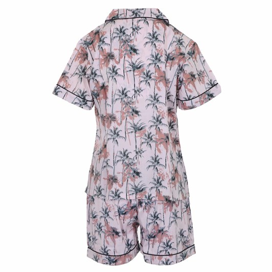 Cottonreal Co/Poplin Palmtrees S/Slv Heritage Shortie Sets