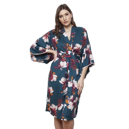 Cottonreal Superlawn Grand Protea Flora ¾ Slv Jp Kimono Wrap