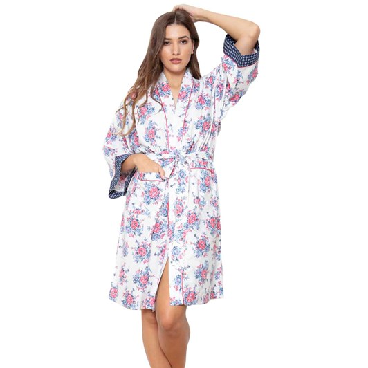 Cottonreal Antiquerosebud Mm 3/4 Slv Kimono Wrap