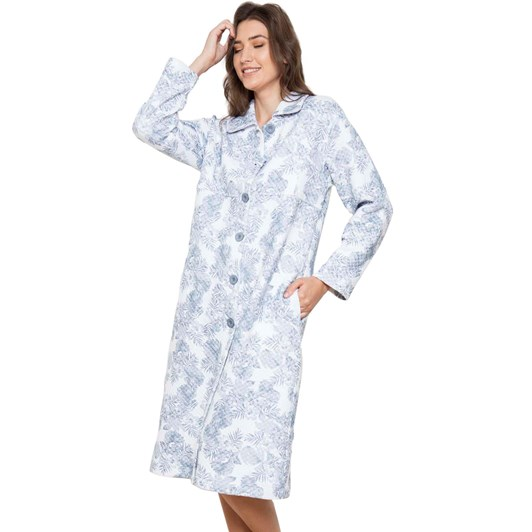 Cottonreal Pebblepalms Quilt Spread Collar Button Robe