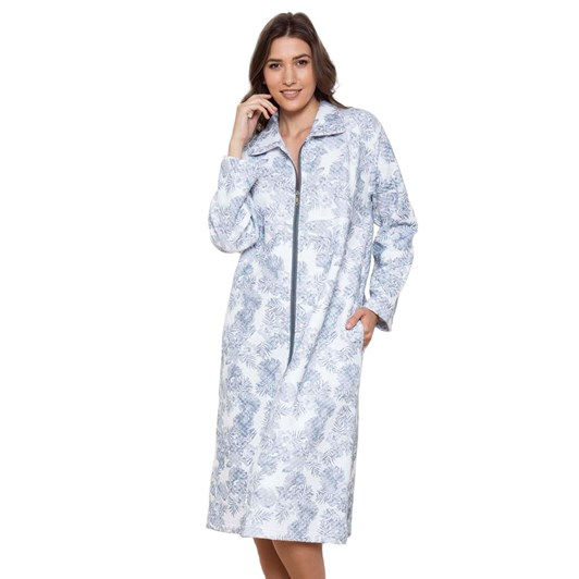 Cottonreal Pebblepalms Quilt Spread Collar Zip Robe