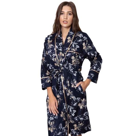 Cottonreal Wild Hibiscus Flora Classic Shawl Robe