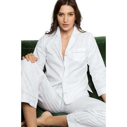 Cottonreal Superfine Shadow Stripe L/Slv Heritage Pj Set