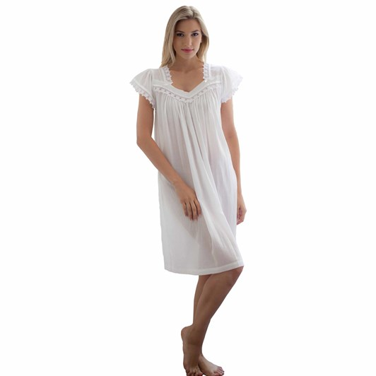 Cottonreal Deluxe lawn Sleeveless V Nightdress White