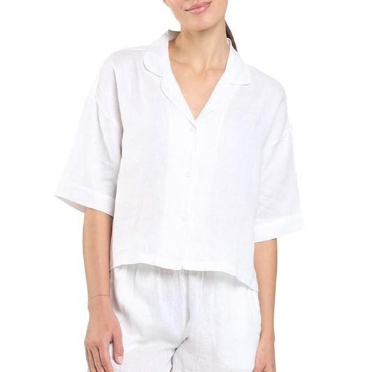 Papinelle Resort Linen Ss Crop Shirt