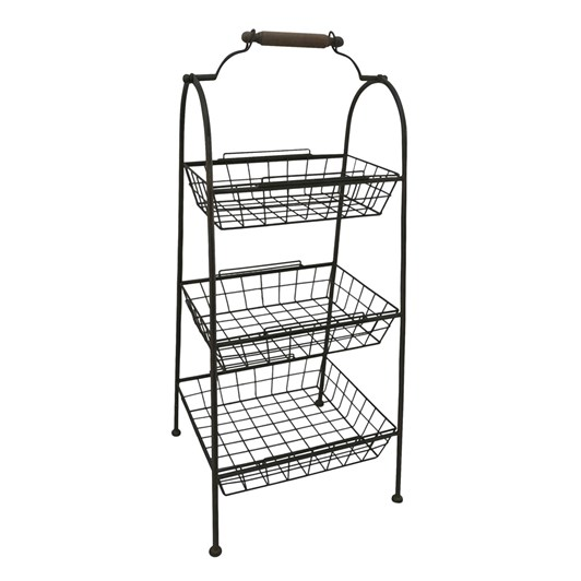 French Country 3 Tier Sofia Wire Standing Storage Rack