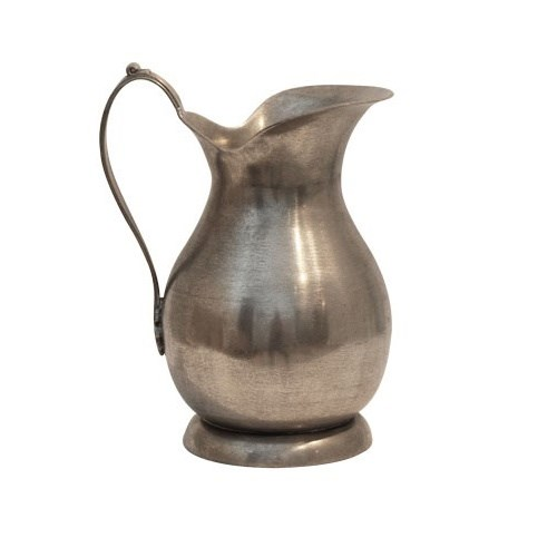French Country Pewter Jug with Flat Handle Large