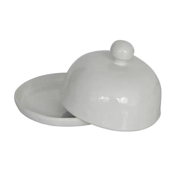 French Country Benoir Round Butter Dish - off white