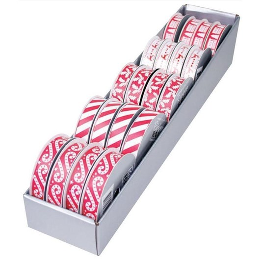 Red and White Christmas Ribbon Roll 15mm