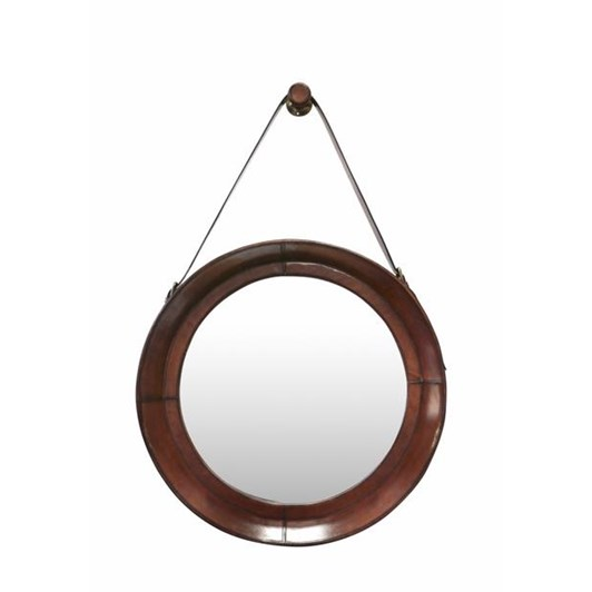 CC Interiors Leather Mirror With Strap & Hook Chestnut
