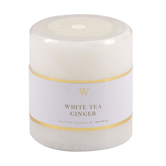 Waxglo 'W' Scented Cylinder 70x75mm - White Tea Ginger