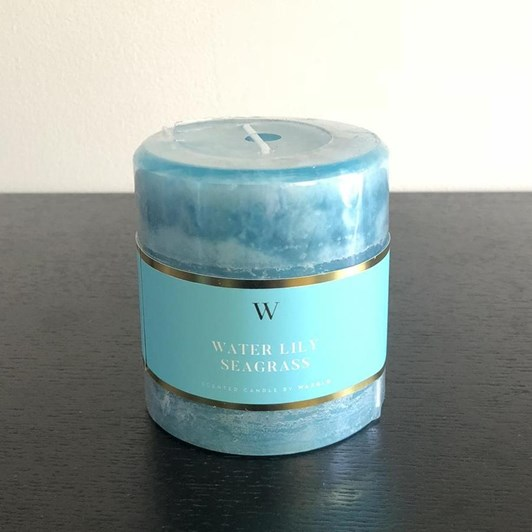 Waxglo 'W' Scented Cylinder 70x75mm - Waterlily Seagrass