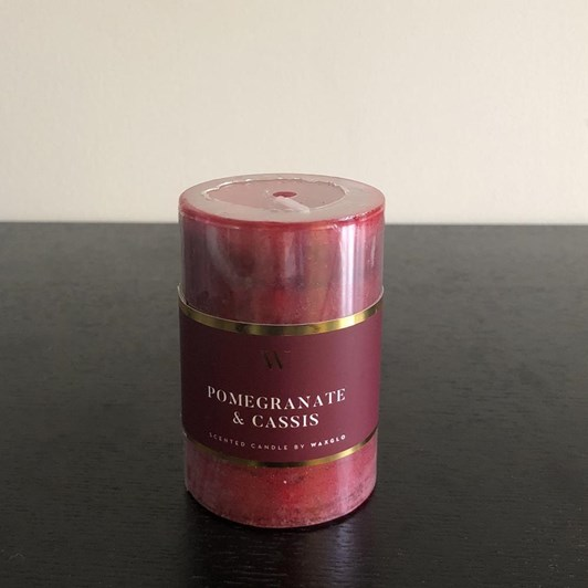 Waxglo 'W' Scented Cylinder 50x75mm - Pomegranate Cassis
