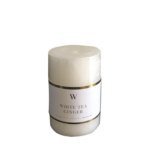 Waxglo 'W' Scented Cylinder 50x75mm - White Tea Ginger