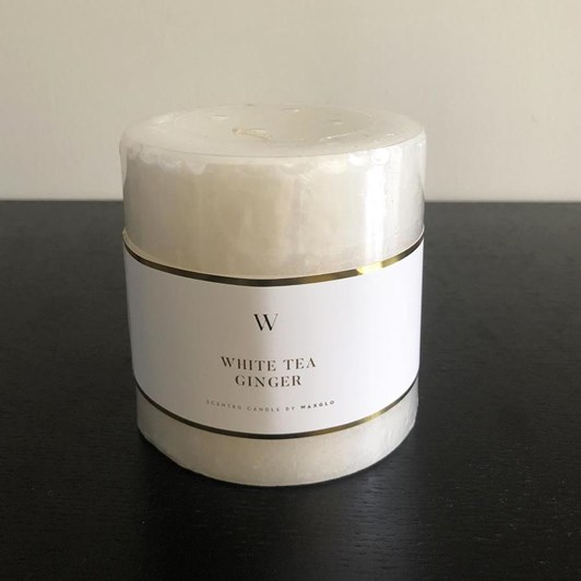 Waxglo 'W' Scented Cylinder 90x90mm - White Tea Ginger