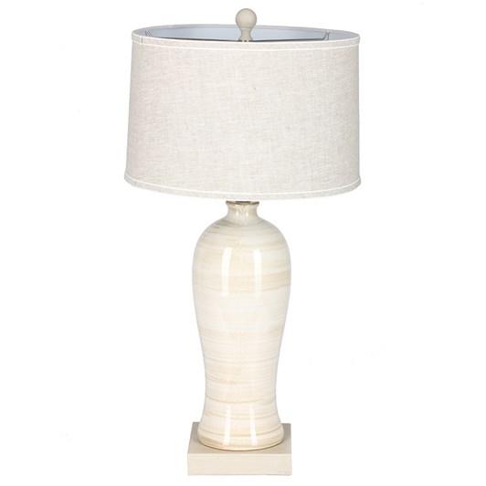 Ceramic White Lampbase 80cm with Linen Gold Harp