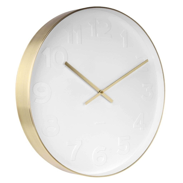 Karlsson Mr. White Gold Rim Clock - na