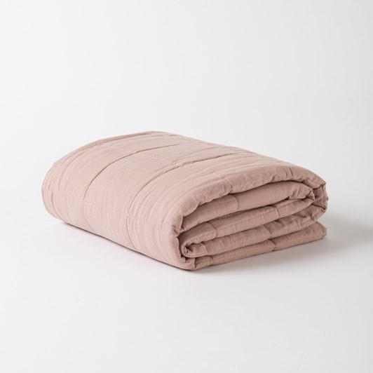 Citta Washed Linen Quilted Blanket Mauve S 130X180Cm